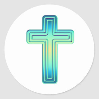 Layered Cross 1 Round Sticker