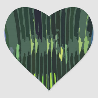 Layered Green Rock Formations - Artistic Work Heart Sticker