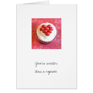 Layered M&M Heart Cupcake Design Greeting Card