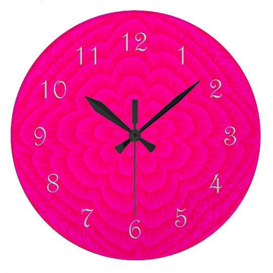 Layered Petals Round Wall Clock-PINK Large Clock
