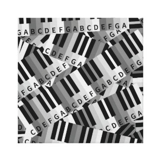 Layered Piano Pattern Black and White Canvas Prints