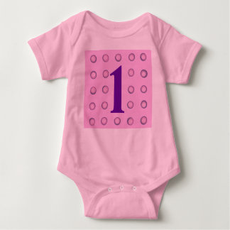 Layered Pink and Purple Polka Dots Age 1 Creepers Baby Bodysuit