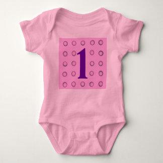 Layered Pink and Purple Polka Dots Age 1 Creepers Shirt