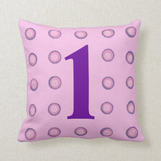 Layered Pink and Purple Polka Dots Age 1 Pillows Throw Cushions