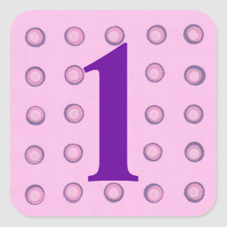 Layered Pink and Purple Polka Dots Age 1 Stickers