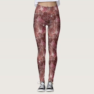 Layered Pink Brown Patterned Leggings