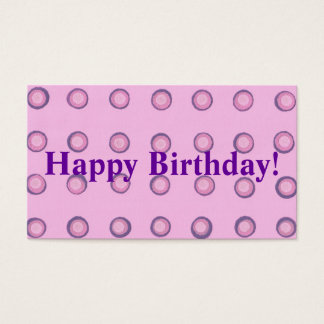 Layered Pink Purple Polka Dots Happy Birthday Tags Business Card