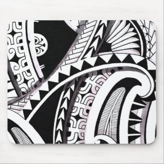 Layered Polynesian black tattoo design spearheads Mouse Pads