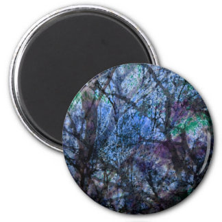 Layered Trees at Twilight 6 Cm Round Magnet