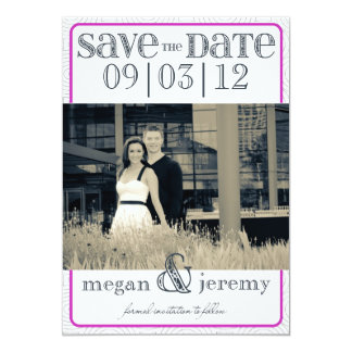 Layers - Custom Save the Date - Magenta & White 13 Cm X 18 Cm Invitation Card