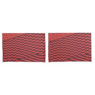 Layers - Dark Red&Orange - Pillow Case