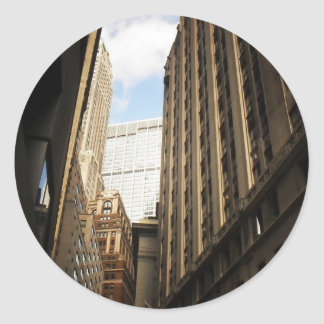 Layers of Buildings in the Financial District, NYC Round Sticker
