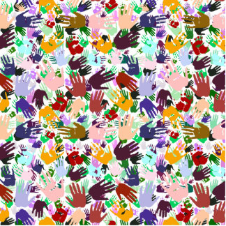 Layers of Colorful Handprints Acrylic Cut Out