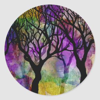 Layers of Trees on Mica Background Round Sticker