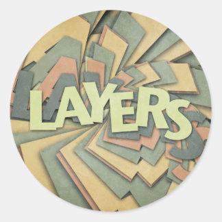 Layers Round Stickers