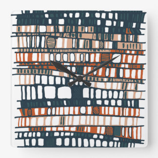 Layers terracotta square wall clock