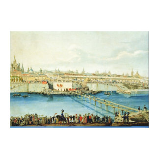 Laying of the Moskvoretsky Bridge in Moscow Canvas Print