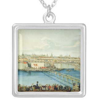 Laying of the Moskvoretsky Bridge in Moscow Silver Plated Necklace