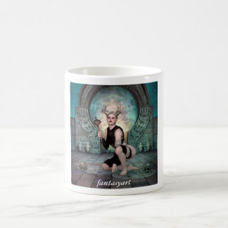 Laying young demon woman coffee mug