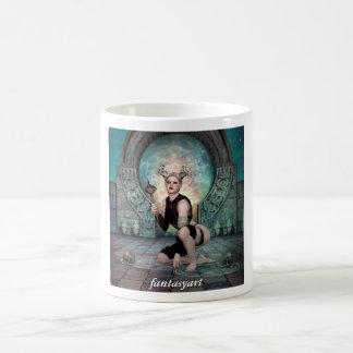 Laying young demon woman basic white mug