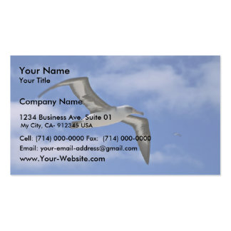 Laysan albatross flying in air business cards