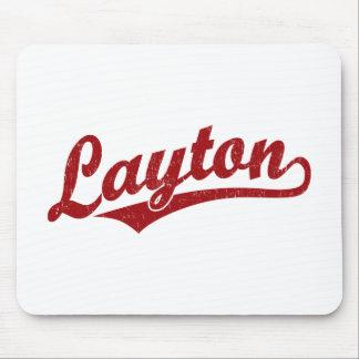 Layton script logo in red distressed mousepad