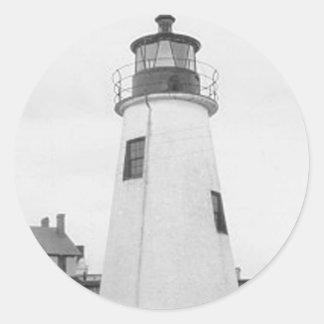 Lazaretto Point Lighthouse Classic Round Sticker
