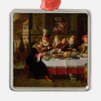 Lazarus and the Rich Man's Table Silver-Colored Square Decoration