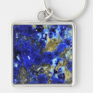 Lazurite pattern abstract art Silver-Colored square key ring