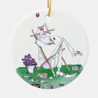 lazy bones - cricket , tony fernandes round ceramic decoration