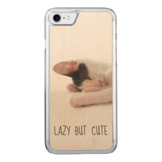 Lazy But Cute Funny Quote Kitten Photo Cat Humor Carved iPhone 8/7 Case
