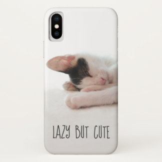 Lazy But Cute Funny Quote Kitten Photo Cat Humor iPhone X Case