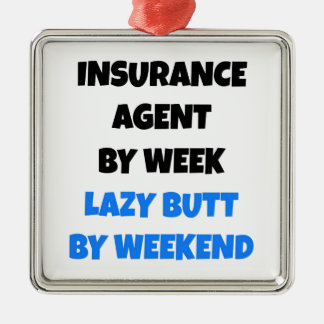 Lazy Butt Insurance Agent Silver-Colored Square Decoration