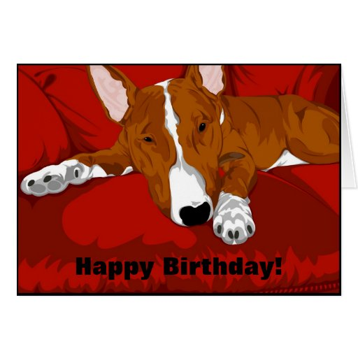 Lazy English Bull Terrier Dog Breed Illustration Greeting Cards