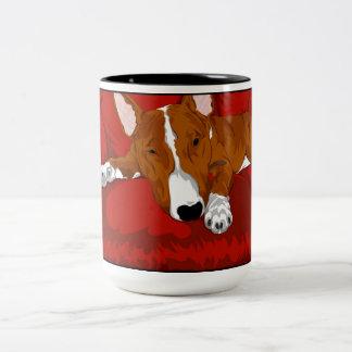 Lazy English Bull Terrier Dog Breed Illustration Two-Tone Coffee Mug