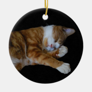 Lazy Ginger cat Christmas Ornament