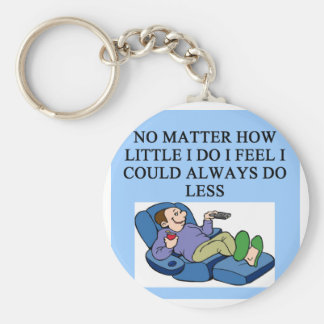 lazy guy basic round button key ring