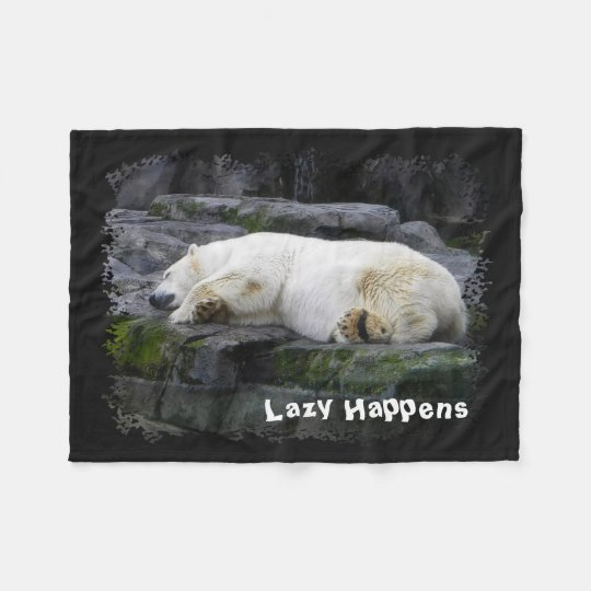 Lazy Happens Polar Bear Fleece Blanket