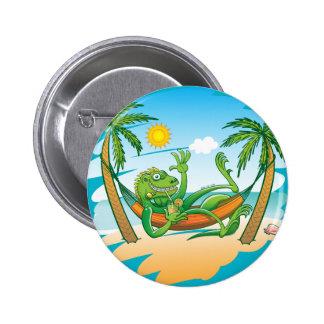 Lazy Iguana Summer on the Beach 6 Cm Round Badge