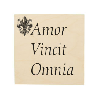 """Lazy in quote """"Amor vincit omnia"""" Love Conquers Wood Wall Decor"""