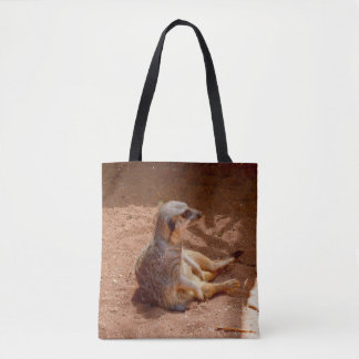 Lazy Meerkat Summer, Full Print Shopping Bag. Tote Bag