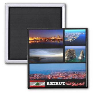 LB - Lebanon - Beirut - Mosaic - Collage Square Magnet