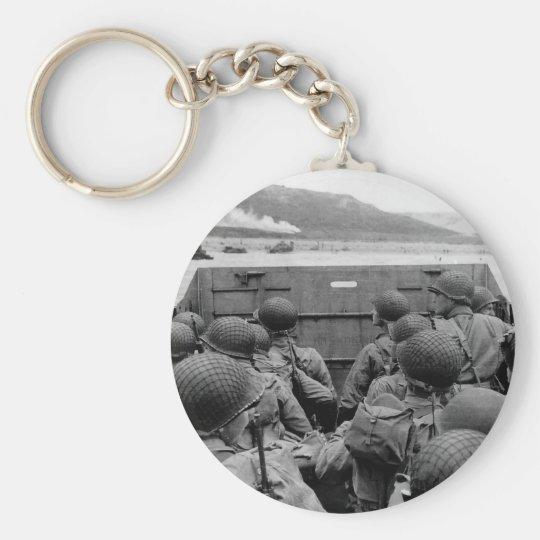 LCVP Landing Craft Approaching Omaha Beach Basic Round Button Key Ring
