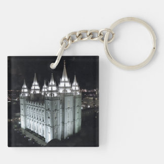 LDS Salt Lake City Temple at Night Double-Sided Square Acrylic Key Ring