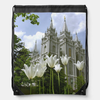 LDS SLC Utah Temple Bag Drawstring Backpacks