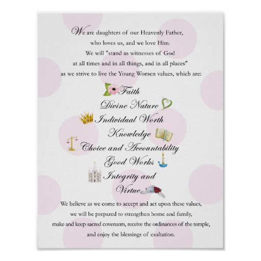 LDS Young Women Theme 11x14 Poster