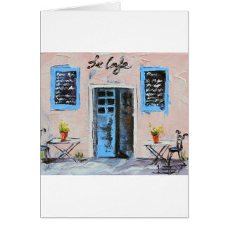 Le Cafe, Palette Knife Painting in Oil Greeting Card