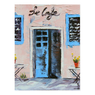 Le Cafe, Palette Knife Painting in Oil Postcard