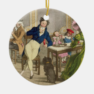 Le Cafe, pub. by Rodwell and Martin, 1820 (colour Round Ceramic Decoration