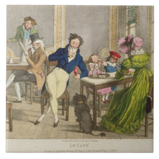 Le Cafe, pub. by Rodwell and Martin, 1820 (colour Tile